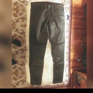 Faux black leather Moto pants. Size 26/28